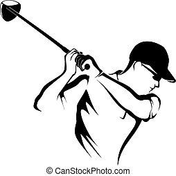 desligado, golfer, closeup, teeing