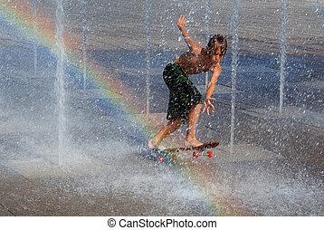 desligado, skateboard, esfriando, chafariz, tocando, criança