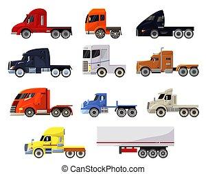 despacho, entrega, transportar, carga, frete, reboque, transporte, vetorial, trucking, isolado, jogo, semi, camião, veículo, semi-caminhão, caminhão transporte, fundo, ilustração, branca