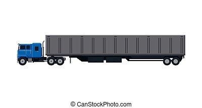 despacho, vista, caminhão, apartamento, entrega, lado, vetorial, reboque, carga, ilustração, branca, veículo, fundo