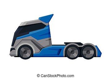despacho, vista, modernos, caminhão, apartamento, entrega, lado, vetorial, carga, ilustração, branca, veículo, fundo