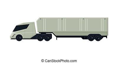 despacho, vista, modernos, caminhão, apartamento, entrega, lado, vetorial, reboque, carga, ilustração, branca, veículo, fundo