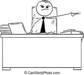 despedir, trabalhador, saliência, vetorial, vara, despedir, caricatura, homem