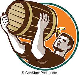 despejar, bartender, barril, cerveja, retro, bebendo, barril