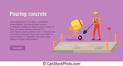 despejar, teia, modernos, concreto, banner., edifício.