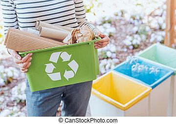desperdício, activista, ordenando, papel