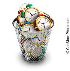 desperdiçando, conceito, tempo