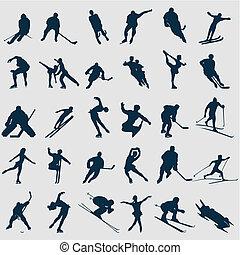 desportistas, ilustração, colour., silhuetas, vetorial, pretas