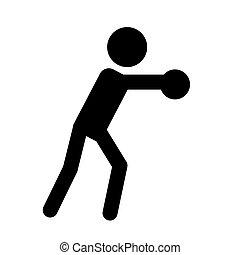 desporto, atleta, isolado, símbolo, experiência., ícone, silueta