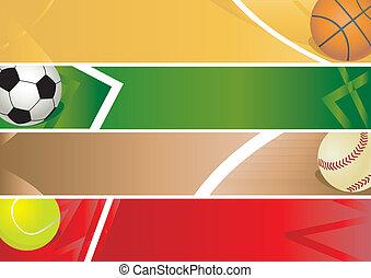 desporto, bandeira, bolas