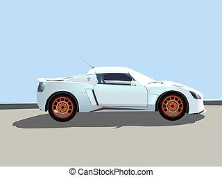 desporto, ilustração, car