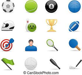 desporto, jogo, ícones
