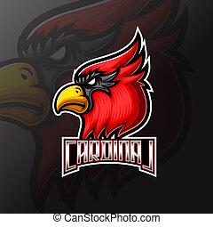 desporto, mercado de zurique, mascote, logotipo, cardeal, cabeça, pássaro