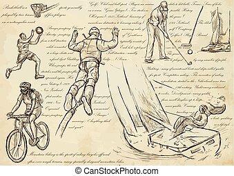 desporto, mistura, arte, -, ilustrações, vetorial, linha, mão, desenhado