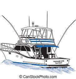 desporto, offshore, barco pesca