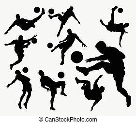 desporto, silhuetas, futebol, macho