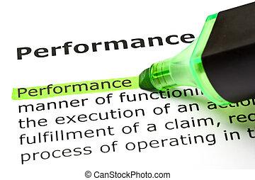destacado, verde, 'performance'