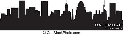 detalhado, baltimore, silueta, vetorial, skyline., maryland