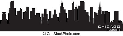detalhado, chicago, illinois, vetorial, skyline., silueta