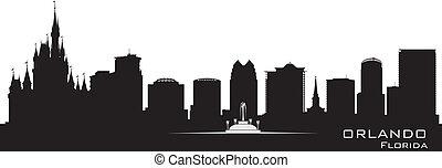 detalhado, cidade, silueta, orlando, flórida, skyline.