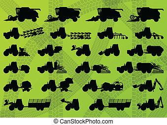 detalhado, combina, industrial, caminhões, harvesters, tratores, ilustração, equipamento, silhuetas, vetorial, escavadores, cobrança, fundo, agricultura, agricultura