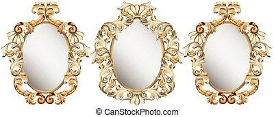 detalhado, decoração, ouro, clássicas, quadro, ornamento, ilustração, vetorial, set.