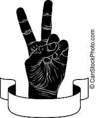 detalhado, fita, emblema, sinal, pretas, vitória, mão, triunfo