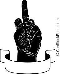 detalhado, fita, punk, emblema, sinal, meio, pretas, dedo, mão