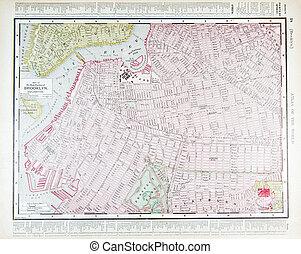 detalhado, mapa antigüidade, brooklyn, ny, rua, nova iorque
