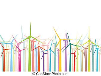 detalhado, moinhos vento, ecologia, coloridos, electricidade, ilustração, silhuetas, vetorial, geradores, cobrança, fundo, vento
