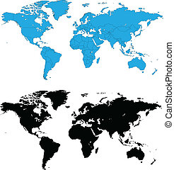 detalhado, mundo, vetorial, mapas