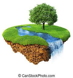 detalhado, paisagem., lifestyle., conceito, natural, sucesso, serie, isolated., ilha, idyllic, gramado, fantasia, um, rio, felicidade, ecológico, árvore., base., cachoeira, ar, chão