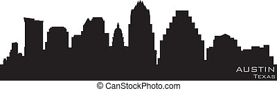 detalhado, silueta, austin, vetorial, skyline., texas