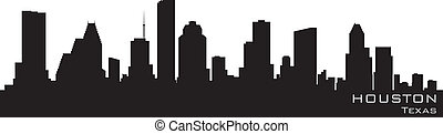 detalhado, silueta, vetorial, houston, skyline., texas