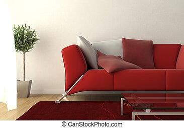 detalhe, quarto moderno, vivendo, desenho, interior