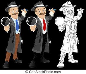 detetive, vetorial, personagem, caricatura