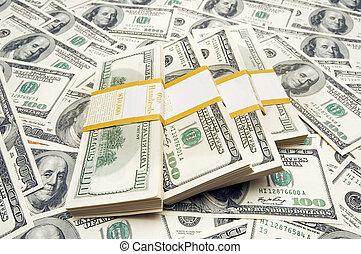 dez, dinheiro, mil, dólar, fundo, pilhas