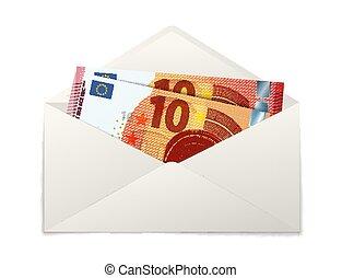 dez, envelope, dois, notas, papel, fraude, branca, euro