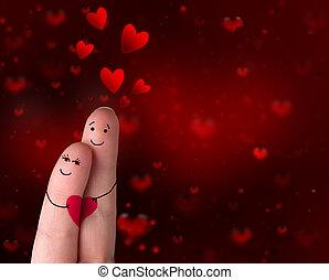 dia, amor, -, valentine, dedos