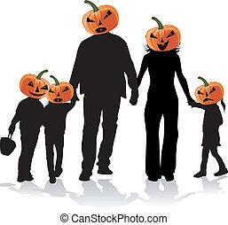 dia das bruxas, família, silueta, -