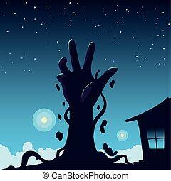 dia das bruxas, fundo, mão, zombie