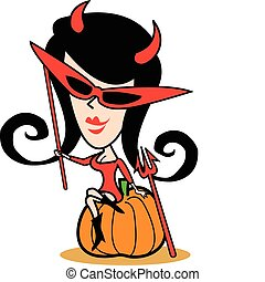 dia das bruxas, menina, arte, traje, clip