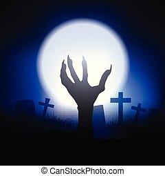 dia das bruxas, zombie, fundo, mão