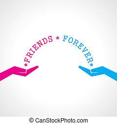 dia, feliz, cartão, amizade, saudação