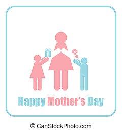 dia, feliz, figura, mãe, mãe, crianças, vara