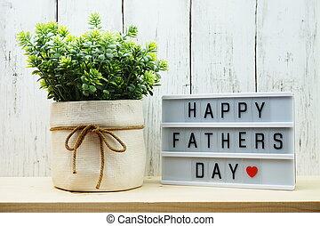 dia, feliz, palavra, caixa, madeira, pais, luz, fundo