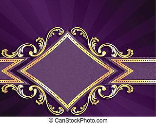 diamante, ouro, dado forma, roxo, &, bandeira