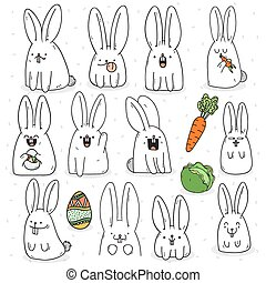 diferente, 12, doodle, adesivo, feito à mão, jogo, emotions., coelho