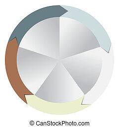 diferente, conceito, coloridos, negócio, setas, ilustração, vetorial, bandeiras, circular, design.