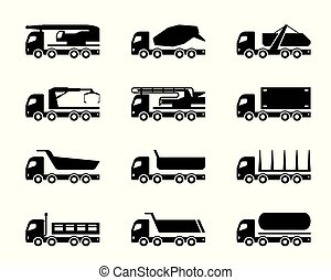 diferente, construção, caminhões